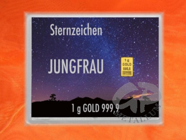 1 gramm gold geschenkbarren flipmotiv sternzeichen jungfrau 45 69. Black Bedroom Furniture Sets. Home Design Ideas