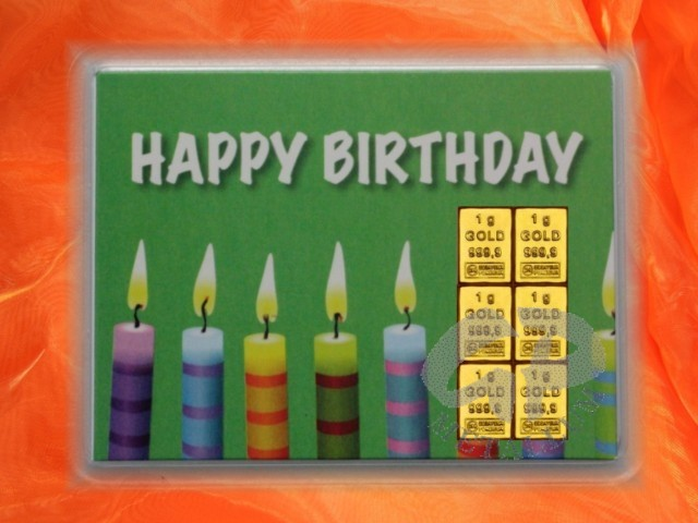6 G Gold Gift Bar Motif Happy Birthday Candles