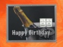 2 g silver gift bar motif Happy birthday Champagne