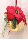 Christmas ball handmade decorated golden red 15 cm