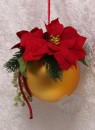 Christmas ball handmade decorated mat golden red 15 cm