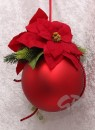 Christmas ball handmade decorated golden red 18 cm