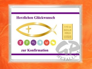 1/10 oz. gold gift bar motif: Konfirmation fish