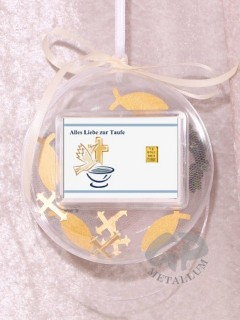 1 g gold gift bar motif: Alles Liebe zur Taufe in gift ball / globe handmade decorated