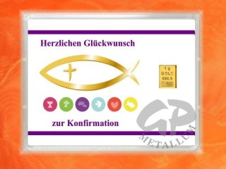 1 g gold gift bar motif: Konfirmation fish
