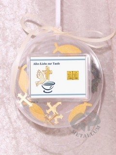 2 g gold gift bar motif: Alles Liebe zur Taufe in gift ball / globe handmade decorated
