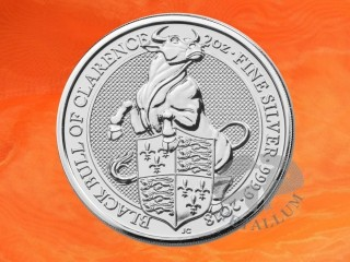 2 oz. The Queen`s Beasts Black Bull of Clarence silver coin Great Britain 2018