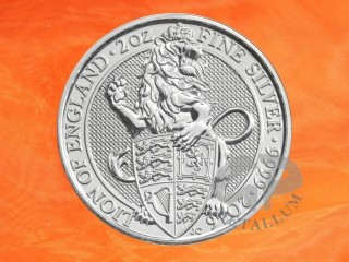 2 oz. The Queen`s Beasts Lion of England silver coin Great Britain 2016