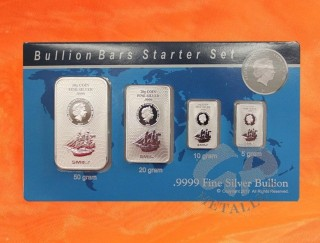 85 Gramm Bounty Silber Münzbarren 2017 Cook Islands Blister Starter Set (50, 20, 10, 5 Gramm)