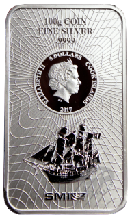 100 Gramm Bounty Silber Münzbarren Cook Islands 2017 Neues Design!