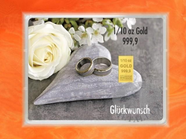 1 10 Unze Gold Geschenkbarren Flipmotiv Hochzeit Ringe Herz 137 47