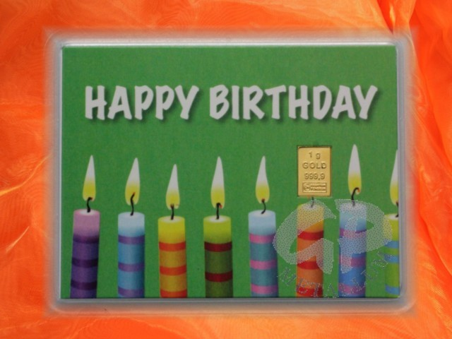 1 g gold gift bar motif happy birthday candles 44 95. Black Bedroom Furniture Sets. Home Design Ideas