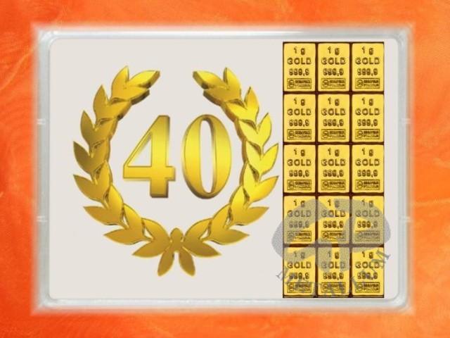 15 Gramm Gold Geschenkbarren Flipmotiv Jubilaum Geburtstag 40 J
