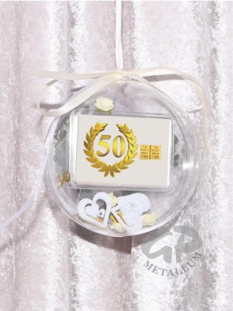 2 Gramm Geschenkbarren Flipmotiv 50 Jahre Geburtstag Goldene Hochzeit In Dekorierter Geschenkkugel