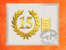 1/10 oz. gold gift bar flip motif: Anniversary 15 years