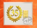 1/10 oz. gold gift bar flip motif: Anniversary 35 years