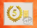 1/10 oz. gold gift bar flip motif: Anniversary 5 years