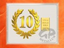 1/10 oz. gold gift bar flip motif: Anniversary 10 years