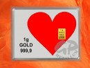 1 g gold gift bar motif: heart