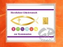 1 g gold gift bar motif: Kommunion fisch