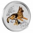 1 oz. Lunar II Dog silver coin coloured Australia 2018