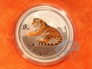 1 oz. Lunar II Tiger silver coin coloured Australia 2010