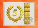 2 g gold gift bar flip motif: Anniversary 5 years