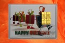 4 g gold gift bar motif: Happy birthday gifts