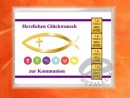 4 g gold gift bar motif: Kommunion fisch