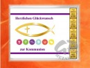5 g gold gift bar motif: Kommunion fisch