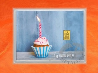 1 Gramm Gold Geschenkbarren Flipmotiv: Happy Birthday - Cupcake