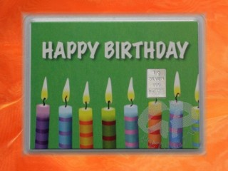 1 g silver gift bar motif Happy birthday candles