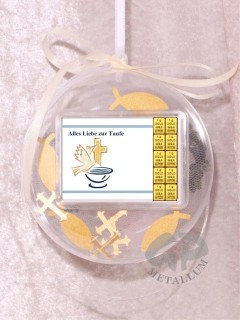 10 g gold gift bar motif: Alles Liebe zur Taufe in gift ball / globe handmade decorated