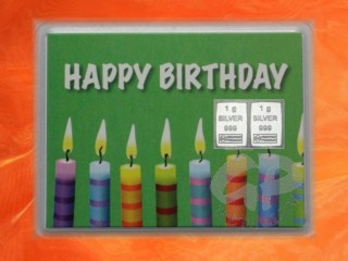 2 g silver gift bar motif Happy birthday candles