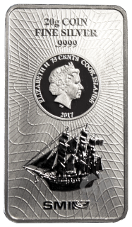20 Gramm Bounty Silber Münzbarren Cook Islands 2017 Neues Design
