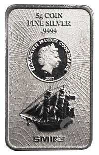 5 Gramm Bounty Silber Münzbarren Cook Islands 2017 Neues Design