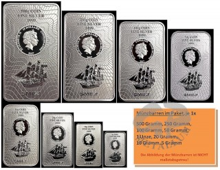 8 coin bars in one package: Added weight 966,1 grams | Bounty silver coinbar Cook Islands 2017 new design