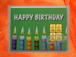 4 g gold gift bar motif: Happy birthday candles