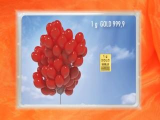 1 g gold gift bar flip motif: Happy Birthday Elephant