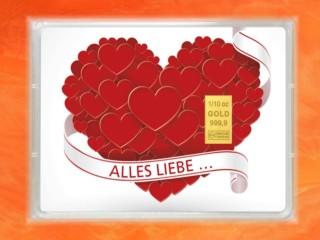 1/10 Unze Gold Geschenkbarren Flipmotiv: Alles Liebe