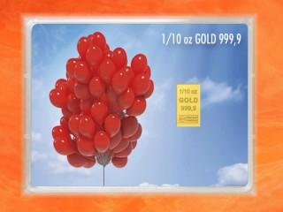 1/10 Unze Gold Geschenkbarren Flipmotiv: Happy Birthday Elefant