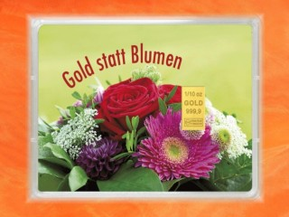 1/10 Unze Gold Geschenkbarren Flipmotiv: Gold statt Blumen