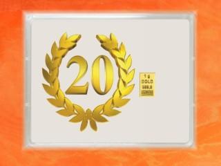 1 g gold gift bar flip motif: Anniversary 20 years