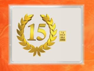 1 g gold gift bar flip motif: Anniversary 15 years
