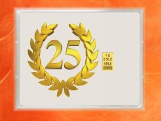 1 Gramm Gold Geschenkbarren Flipmotiv: Jubiläum 25 Jahre