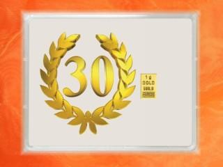 1 Gramm Gold Geschenkbarren Flipmotiv: Jubiläum Geburtstag 30 Jahre