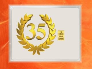 1 Gramm Gold Geschenkbarren Flipmotiv: Jubiläum 35 Jahre