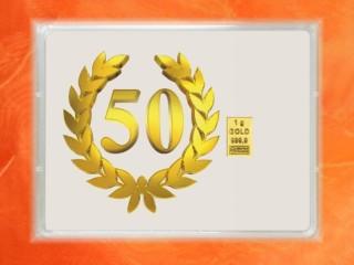 1 Gramm Gold Geschenkbarren Flipmotiv: Jubiläum Geburtstag 50 Jahre