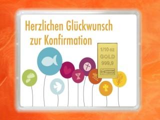 1/10 Unze Gold Geschenkbarren Flipmotiv: Zur Konfirmation