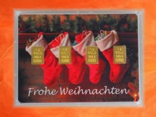 4 g gold gift bar motif: Frohe Weihnachten